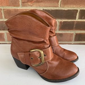 Mia Debrahh brown heeled ankle boots faux leather